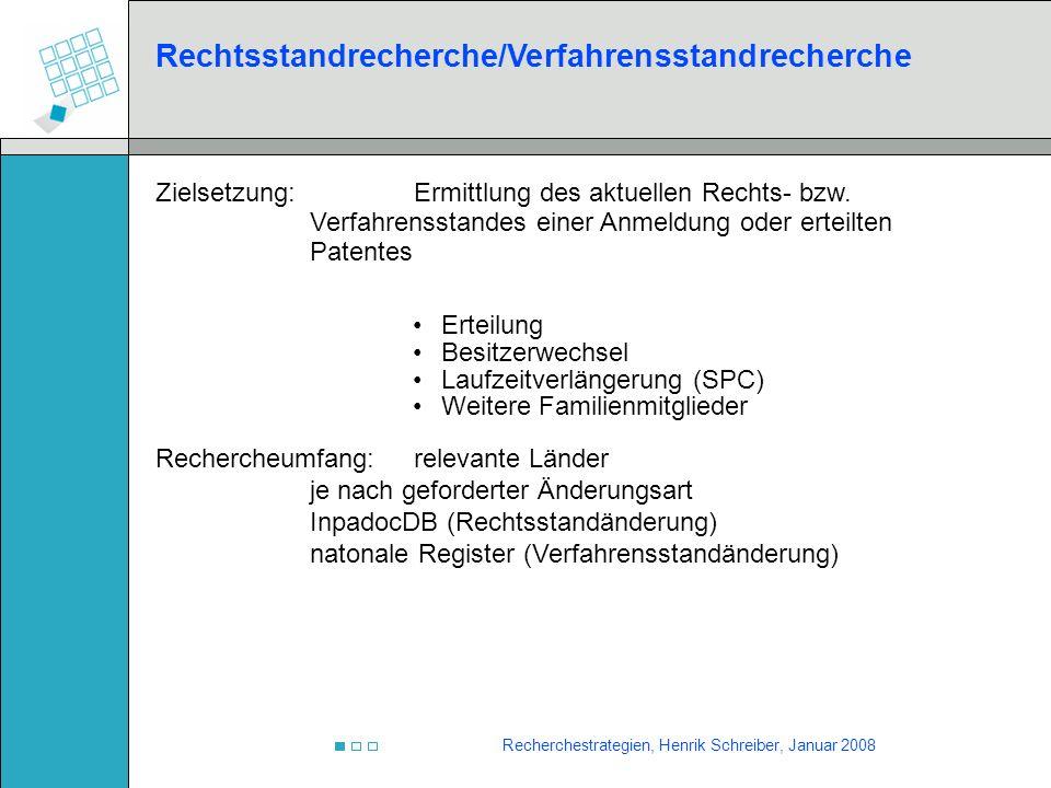 Rechtsstandrecherche/Verfahrensstandrecherche