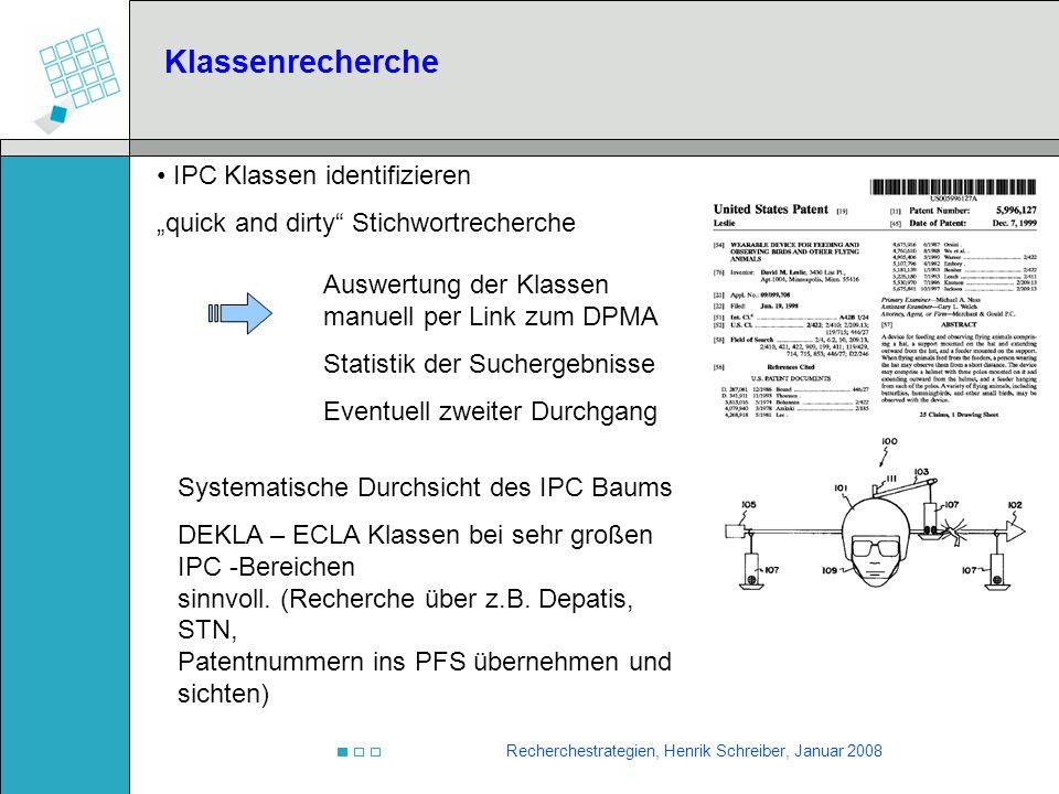 Klassenrecherche IPC Klassen identifizieren