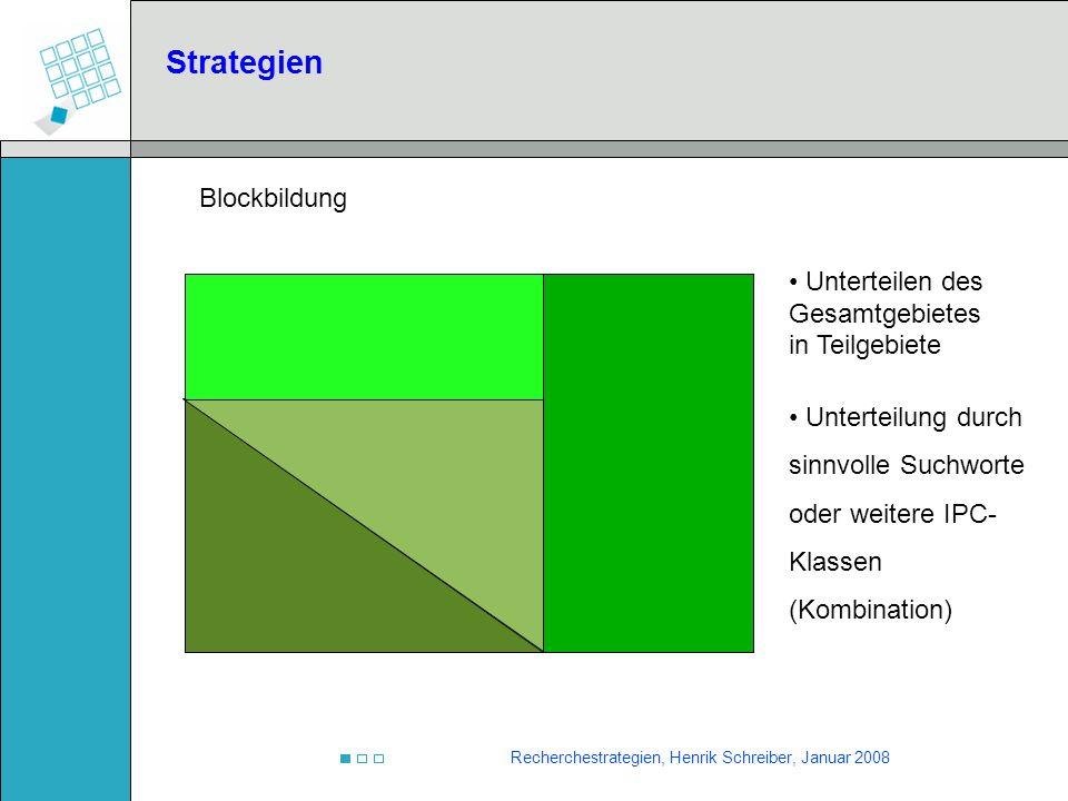 Strategien Blockbildung Unterteilen des Gesamtgebietes in Teilgebiete