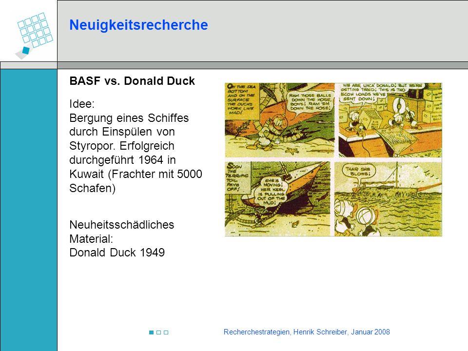 Neuigkeitsrecherche BASF vs. Donald Duck Idee: Bergung eines Schiffes