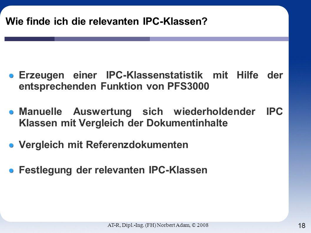 Wie finde ich die relevanten IPC-Klassen
