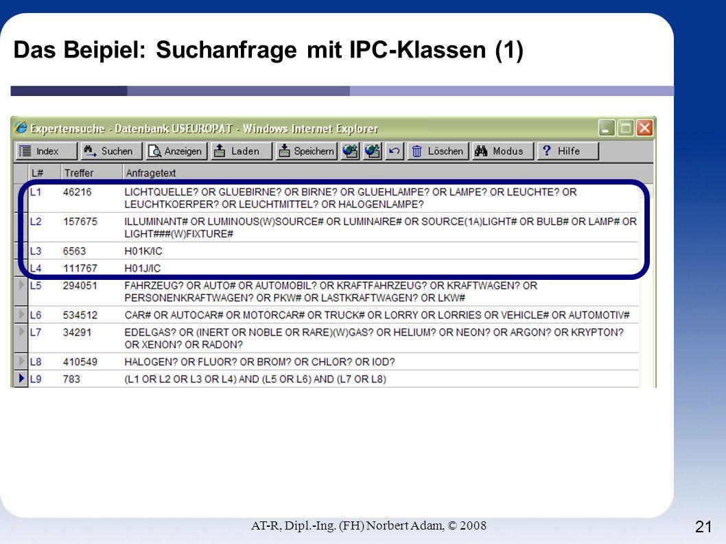 Das Beipiel: Suchanfrage mit IPC-Klassen (1)