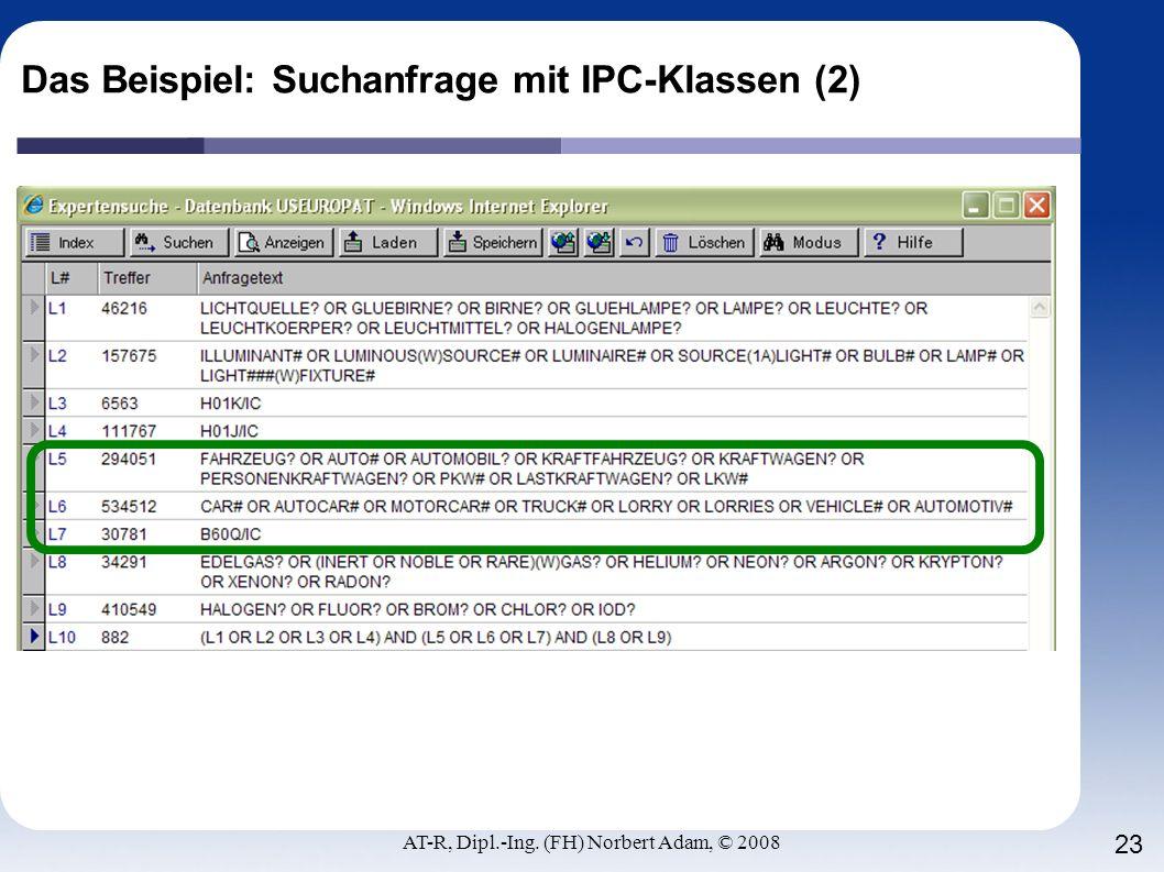 Das Beispiel: Suchanfrage mit IPC-Klassen (2)