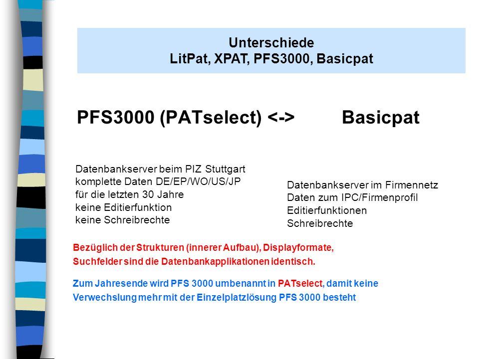 PFS3000 (PATselect) <-> Basicpat