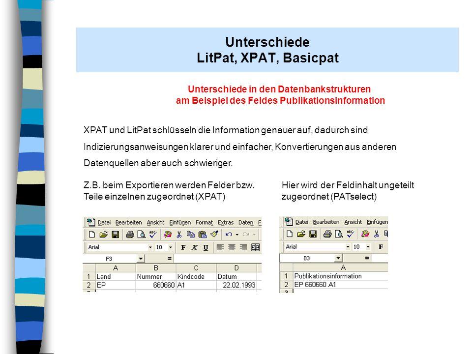 Unterschiede LitPat, XPAT, Basicpat