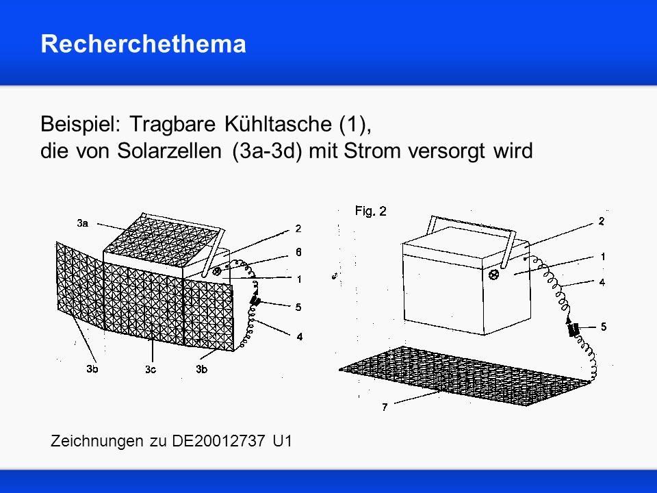Recherchethema Beispiel: Tragbare Kühltasche (1), die von Solarzellen (3a-3d) mit Strom versorgt wird.