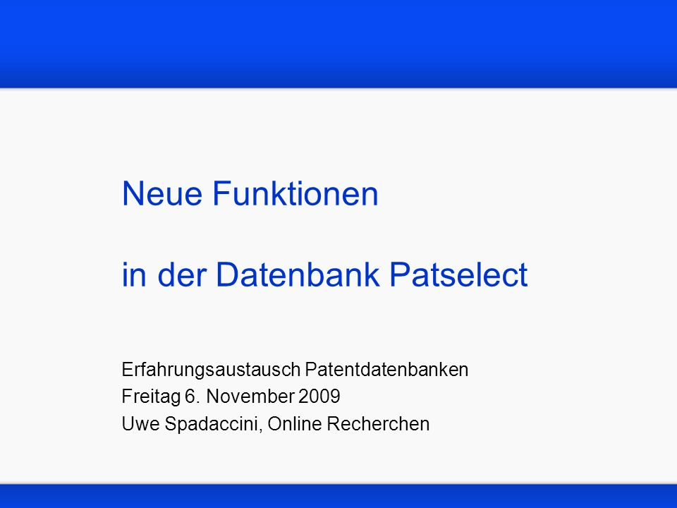 Neue Funktionen in der Datenbank Patselect