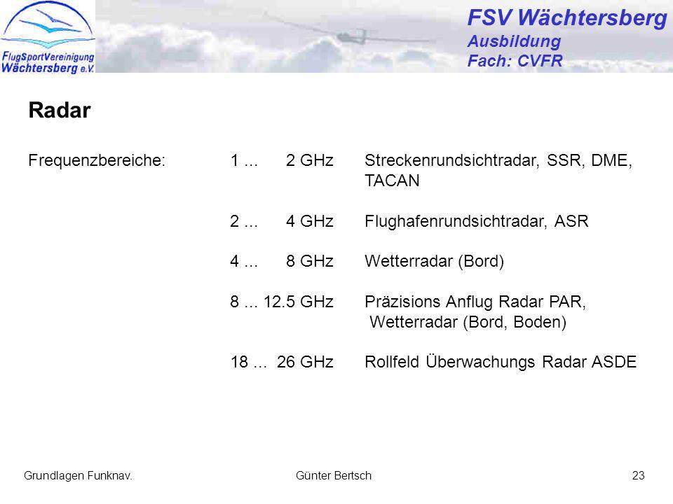 FSV Wächtersberg Radar Ausbildung Fach: CVFR
