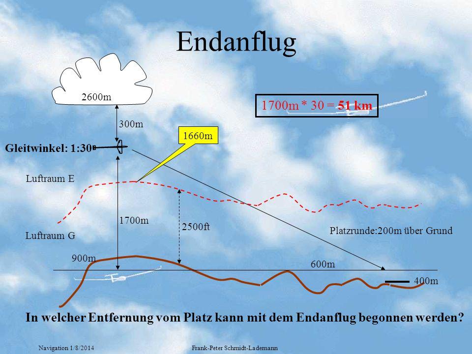 Endanflug 2600m. 1700m * 30 = 51 km. 300m. 1660m. Gleitwinkel: 1:30. 600m. 1700m. Luftraum E.
