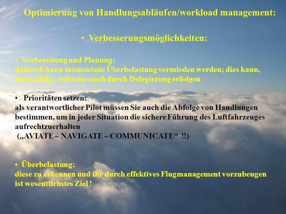 Optimierung von Handlungsabläufen/workload management: