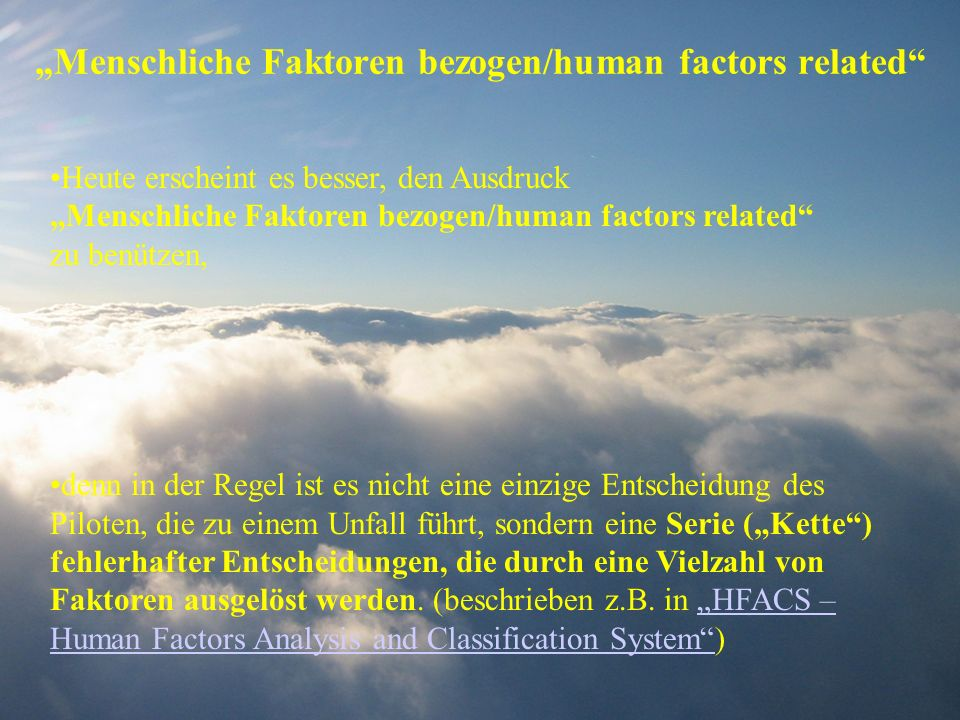 """Menschliche Faktoren bezogen/human factors related"