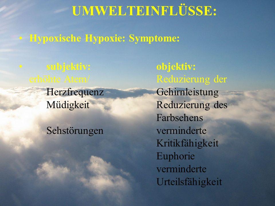 UMWELTEINFLÜSSE: Hypoxische Hypoxie: Symptome: