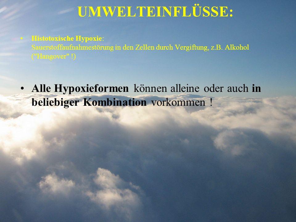 UMWELTEINFLÜSSE:Histotoxische Hypoxie: Sauerstoffaufnahmestörung in den Zellen durch Vergiftung, z.B. Alkohol ( Hangover !)