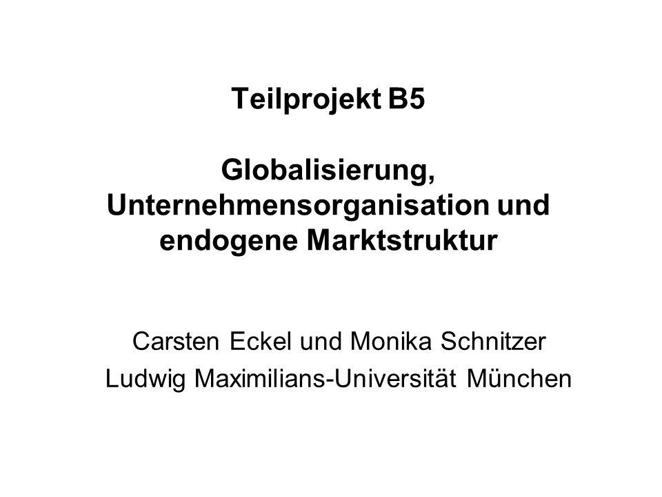 Teilprojekt B5 Globalisierung, Unternehmensorganisation und endogene Marktstruktur