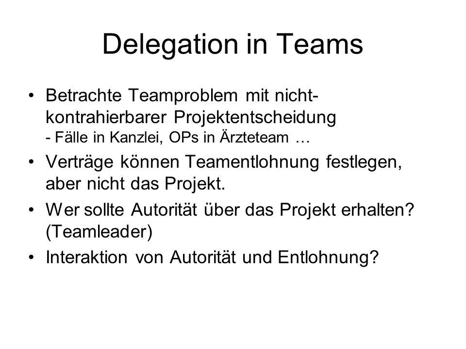 Delegation in TeamsBetrachte Teamproblem mit nicht-kontrahierbarer Projektentscheidung - Fälle in Kanzlei, OPs in Ärzteteam …
