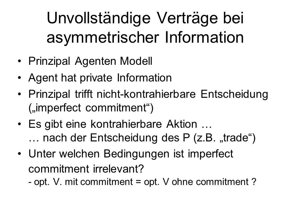 Unvollständige Verträge bei asymmetrischer Information