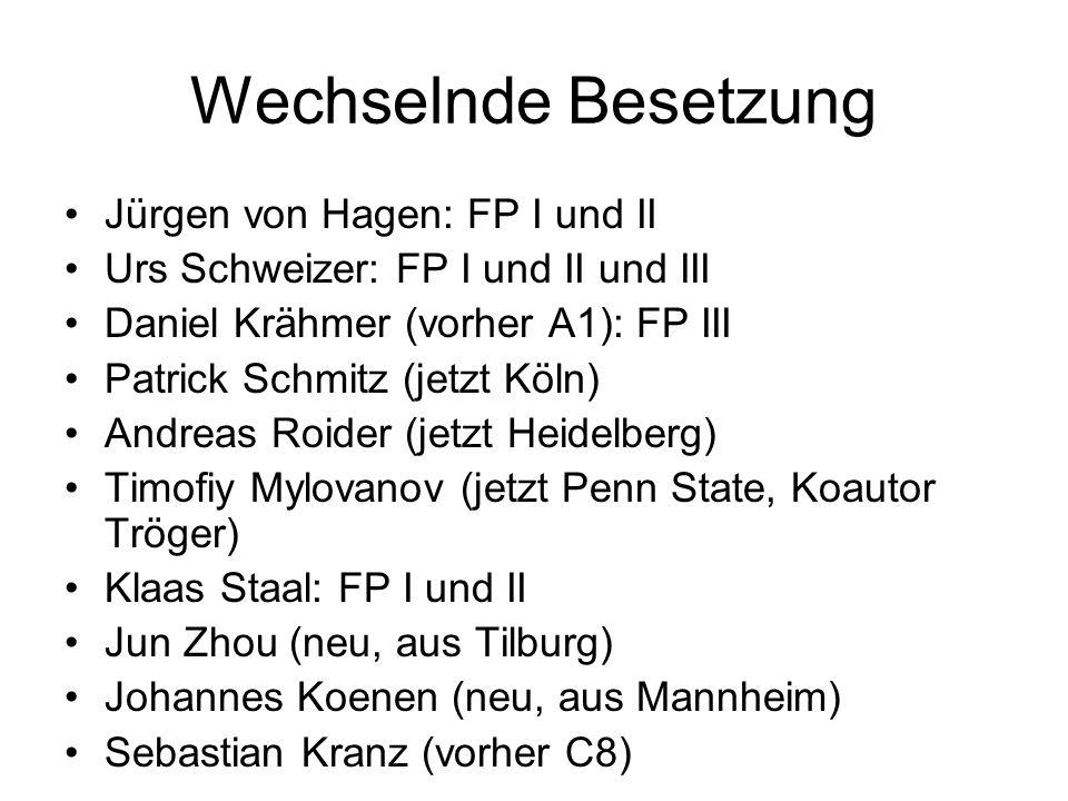 Wechselnde Besetzung Jürgen von Hagen: FP I und II