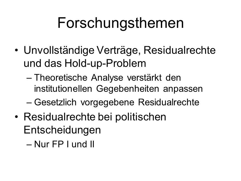 Forschungsthemen Unvollständige Verträge, Residualrechte und das Hold-up-Problem.