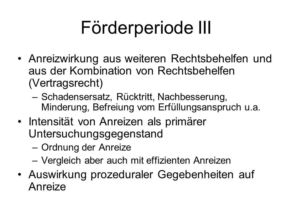 Förderperiode III Anreizwirkung aus weiteren Rechtsbehelfen und aus der Kombination von Rechtsbehelfen (Vertragsrecht)