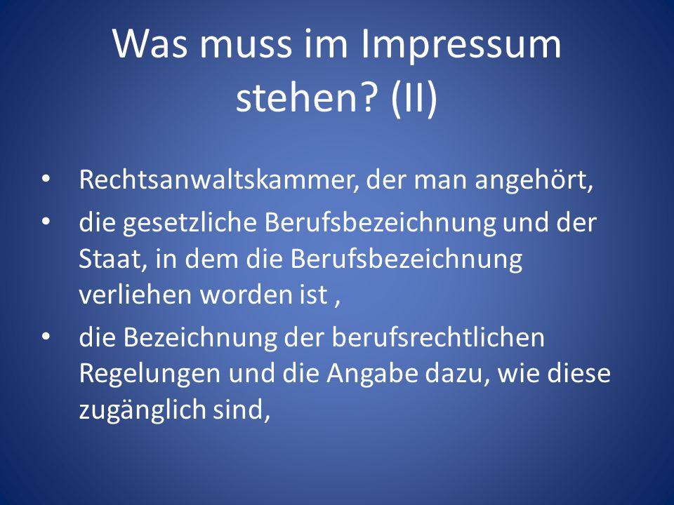 Was muss im Impressum stehen (II)