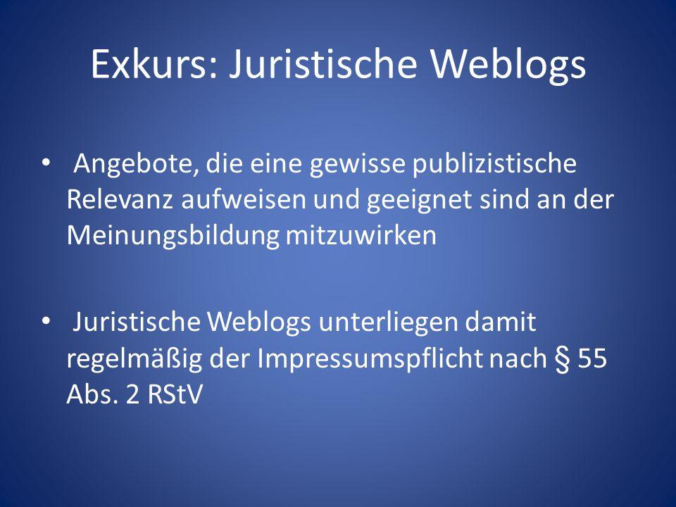 Exkurs: Juristische Weblogs