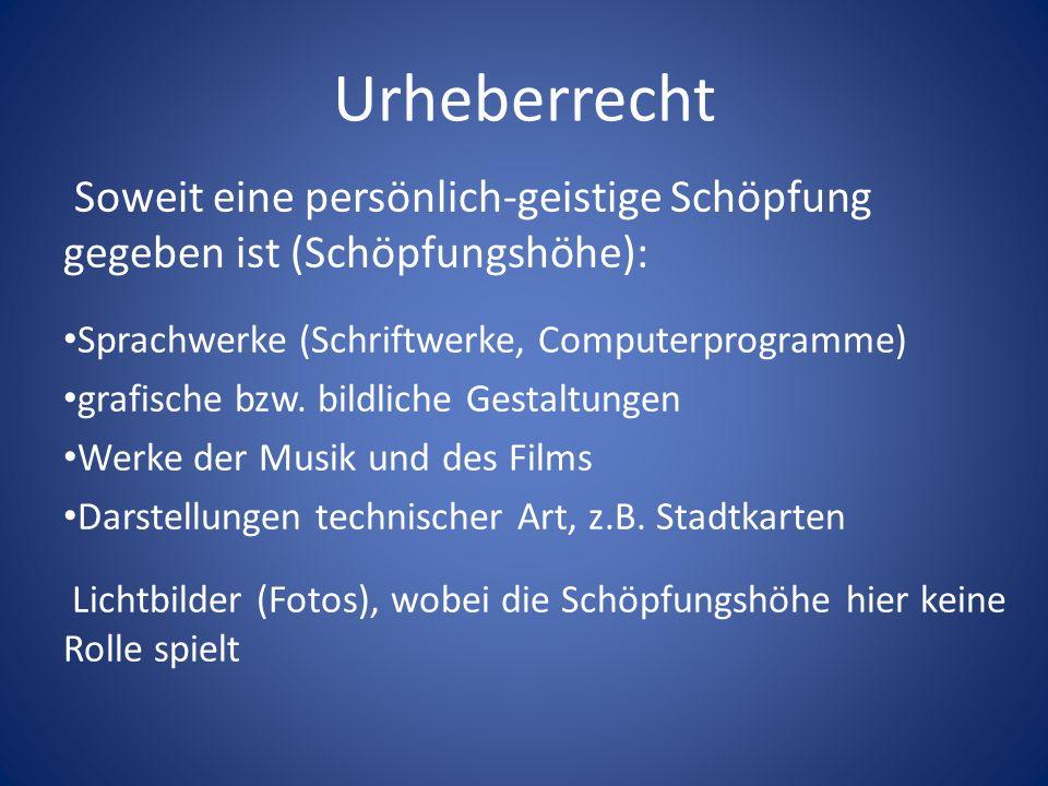 UrheberrechtSoweit eine persönlich-geistige Schöpfung gegeben ist (Schöpfungshöhe): Sprachwerke (Schriftwerke, Computerprogramme)