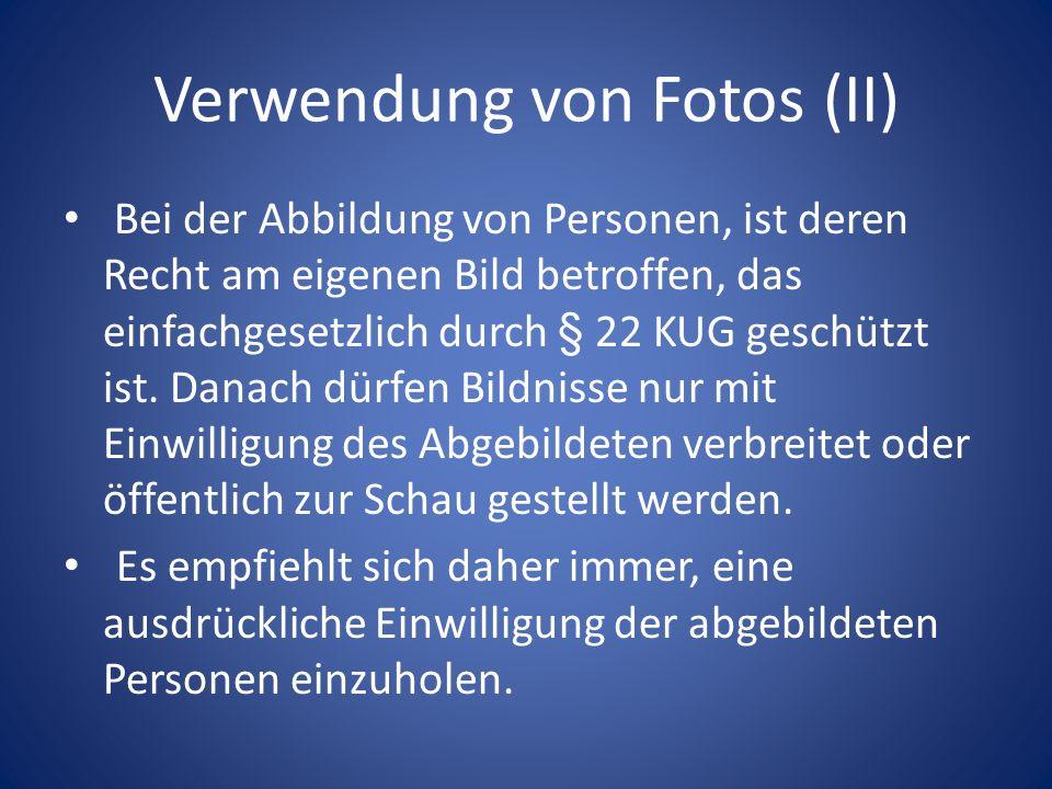 Verwendung von Fotos (II)