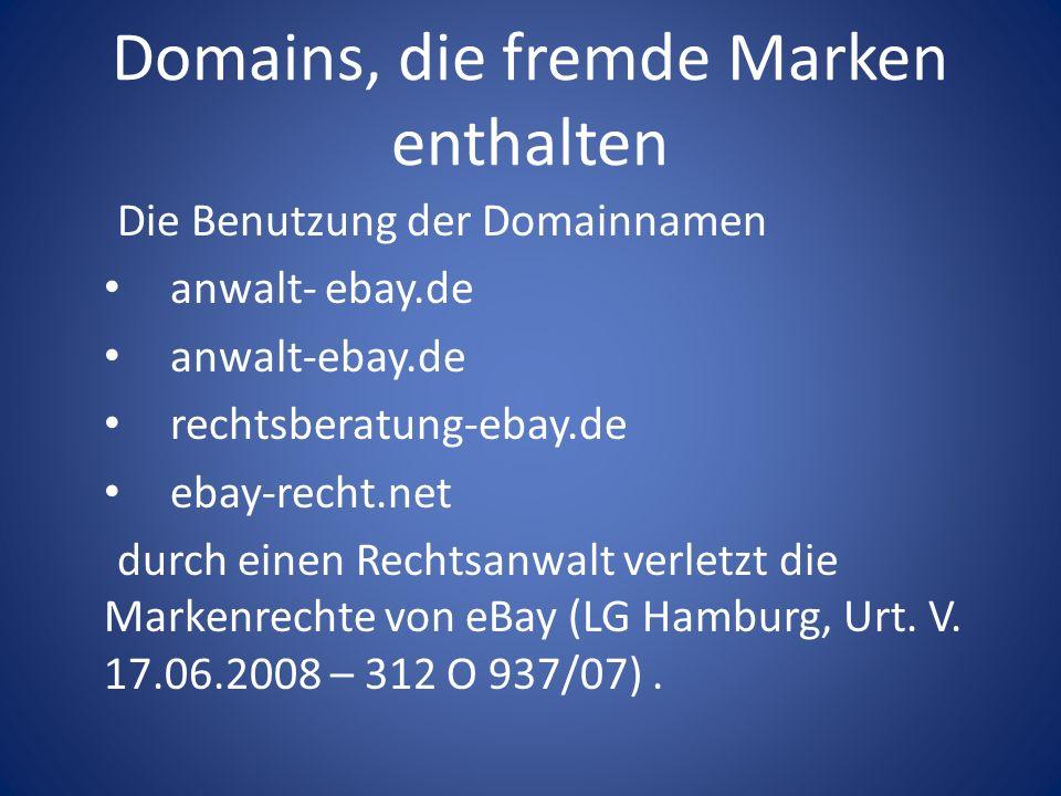 Domains, die fremde Marken enthalten