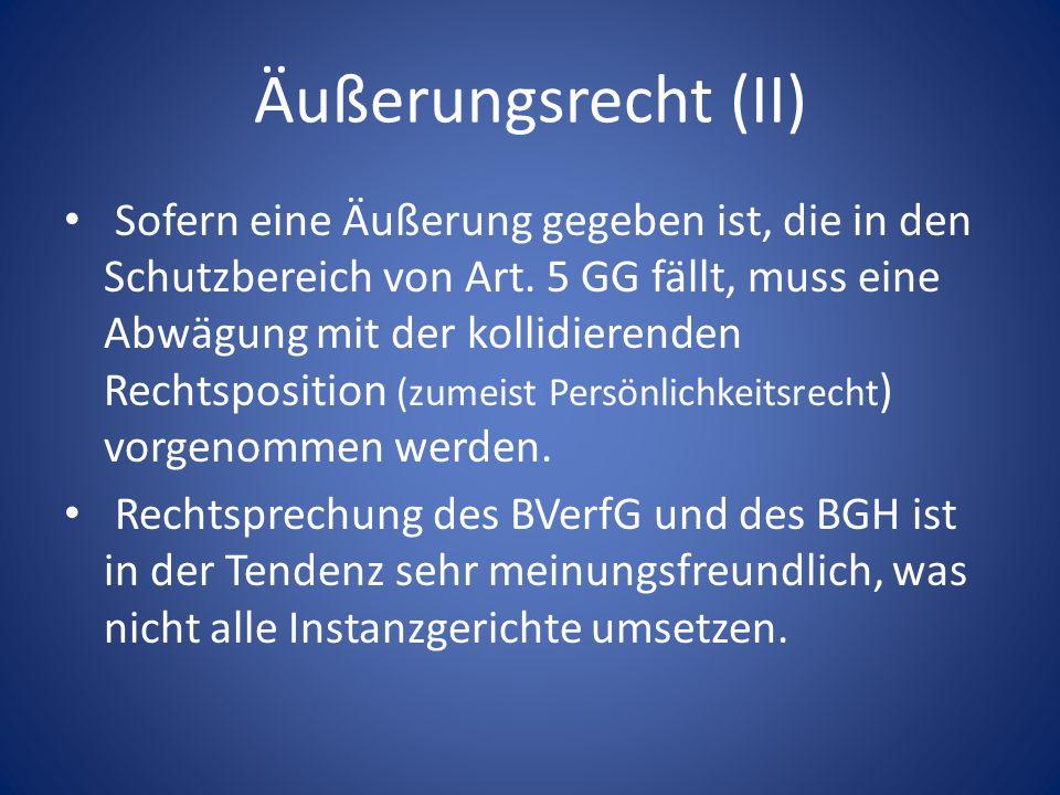 Äußerungsrecht (II)
