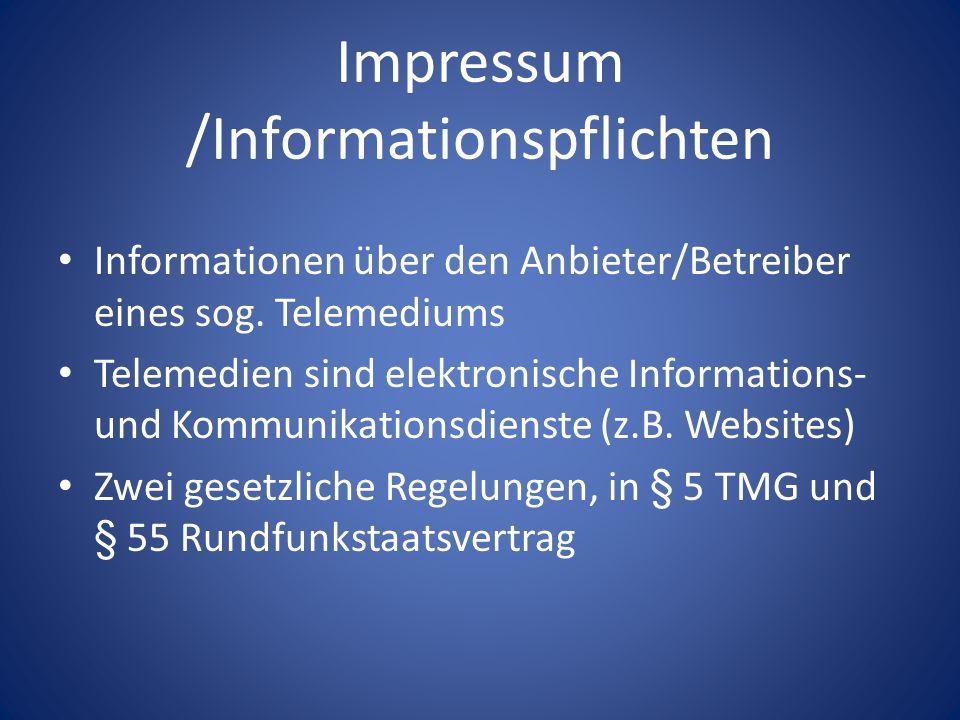 Impressum /Informationspflichten