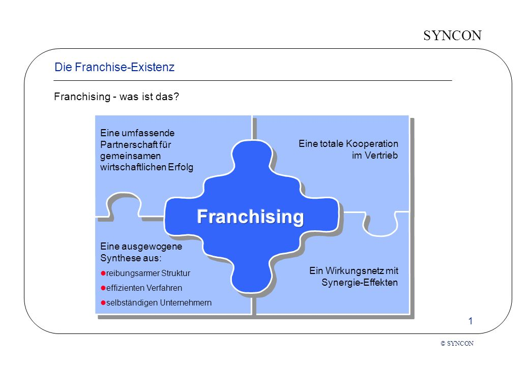 Franchising Die Franchise-Existenz Franchising - was ist das