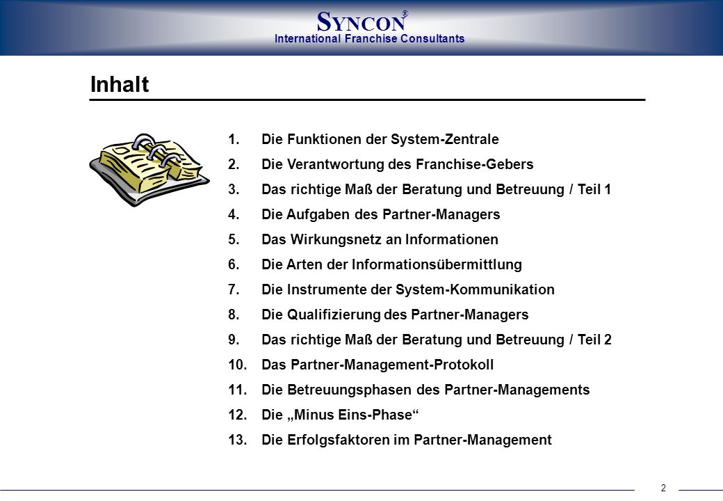 Inhalt Die Funktionen der System-Zentrale