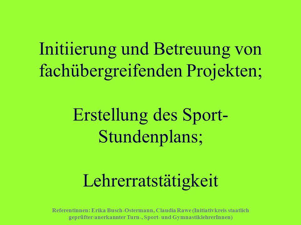 Initiierung und Betreuung von fachübergreifenden Projekten; Erstellung des Sport-Stundenplans; Lehrerratstätigkeit