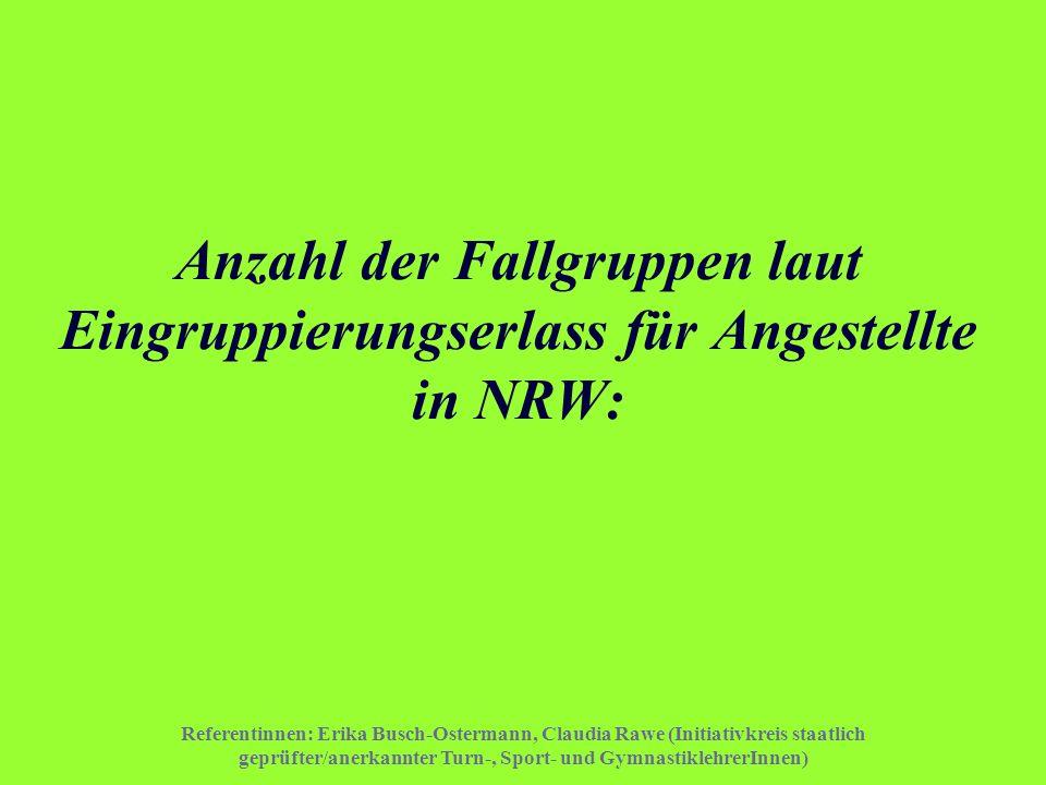 Anzahl der Fallgruppen laut Eingruppierungserlass für Angestellte in NRW: