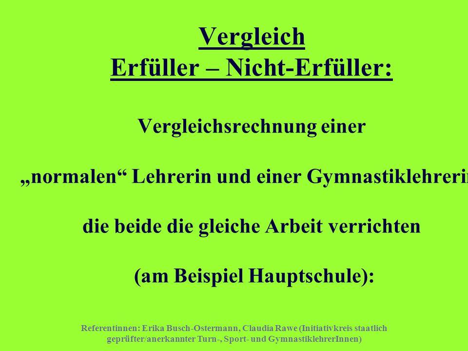 """Vergleich Erfüller – Nicht-Erfüller: Vergleichsrechnung einer """"normalen Lehrerin und einer Gymnastiklehrerin, die beide die gleiche Arbeit verrichten (am Beispiel Hauptschule):"""