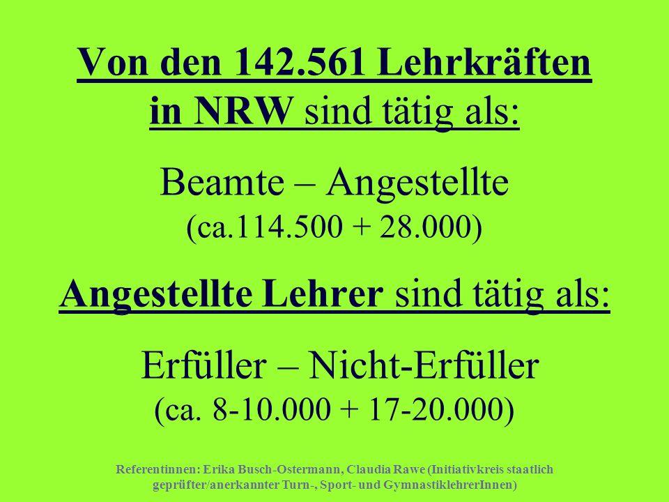 Von den 142.561 Lehrkräften in NRW sind tätig als: Beamte – Angestellte (ca.114.500 + 28.000) Angestellte Lehrer sind tätig als: Erfüller – Nicht-Erfüller (ca. 8-10.000 + 17-20.000)
