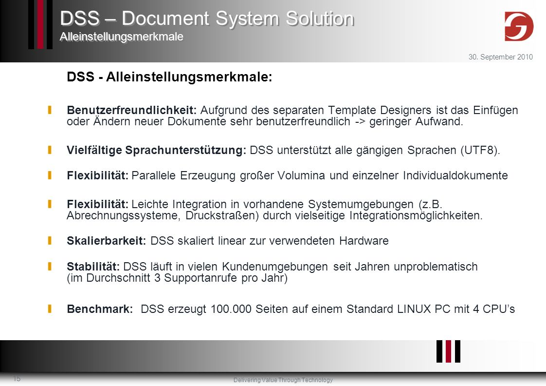 DSS – Document System Solution Alleinstellungsmerkmale