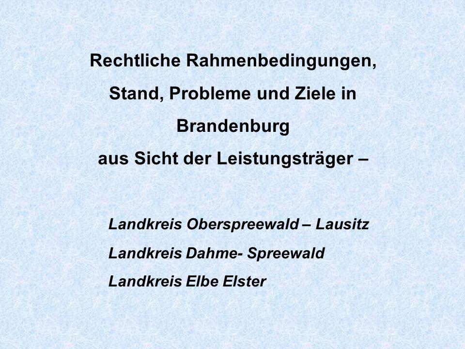 Rechtliche Rahmenbedingungen, Stand, Probleme und Ziele in Brandenburg