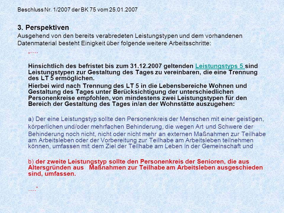 Beschluss Nr. 1/2007 der BK 75 vom 25.01.2007