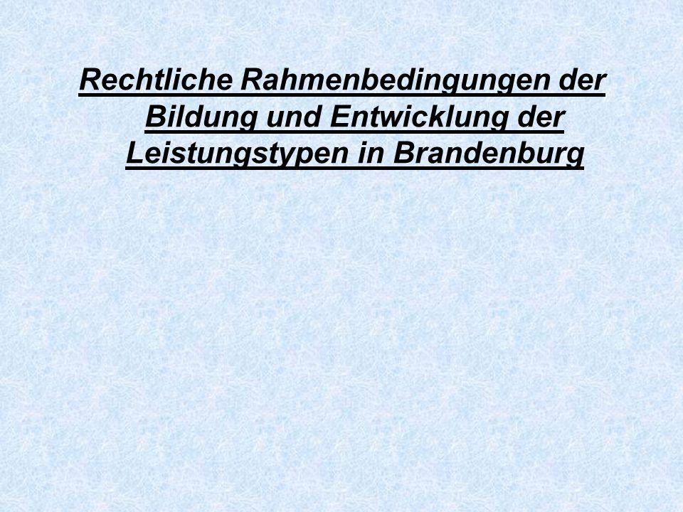 Rechtliche Rahmenbedingungen der Bildung und Entwicklung der Leistungstypen in Brandenburg