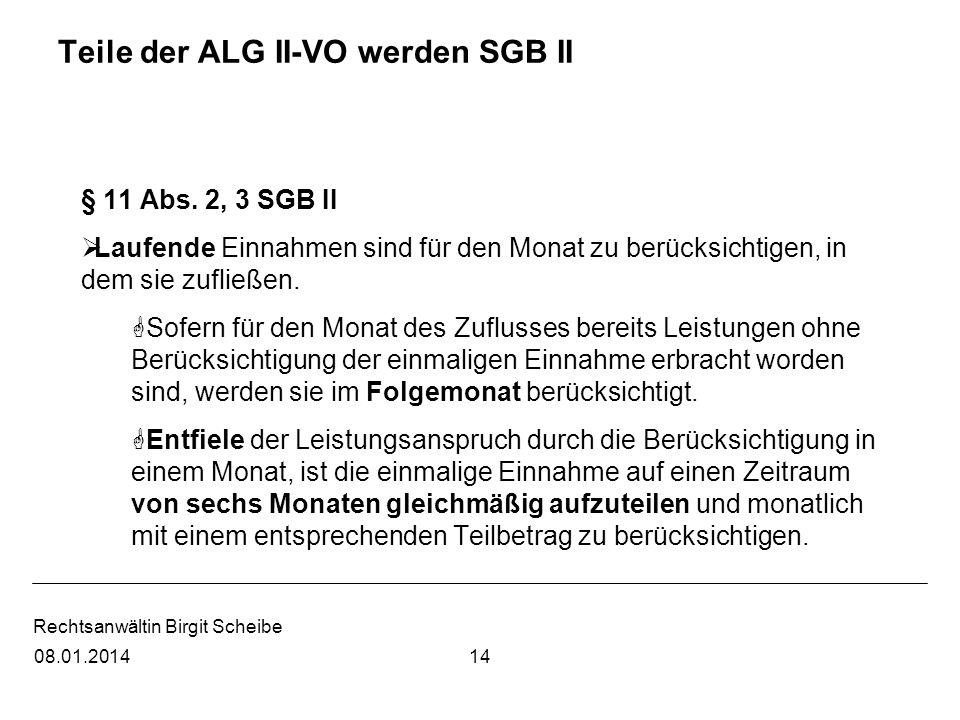 Teile der ALG II-VO werden SGB II