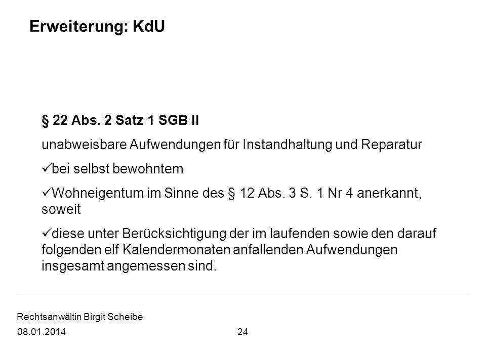 Erweiterung: KdU § 22 Abs. 2 Satz 1 SGB II