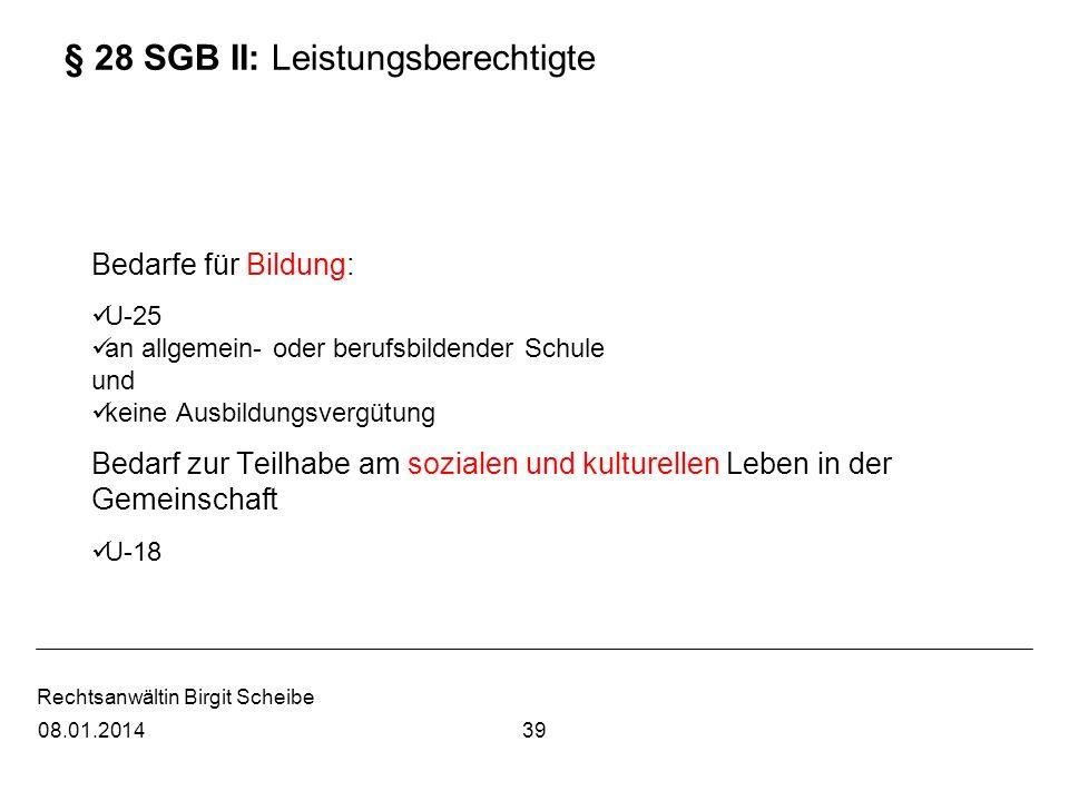 § 28 SGB II: Leistungsberechtigte