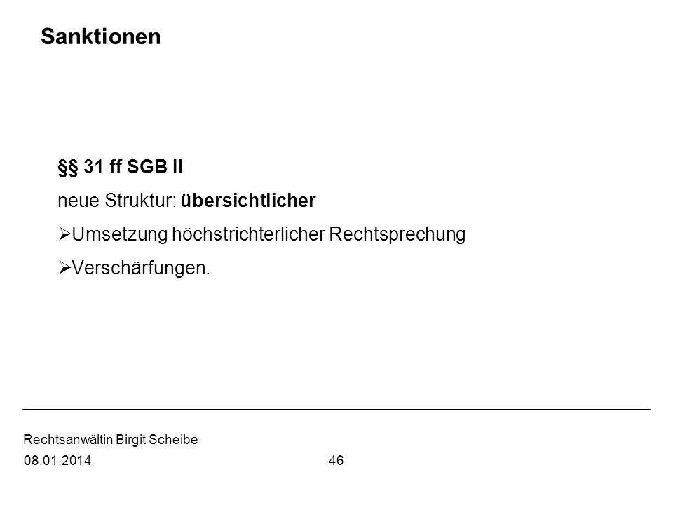 Sanktionen §§ 31 ff SGB II neue Struktur: übersichtlicher