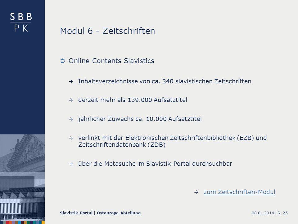 Modul 6 - Zeitschriften Online Contents Slavistics