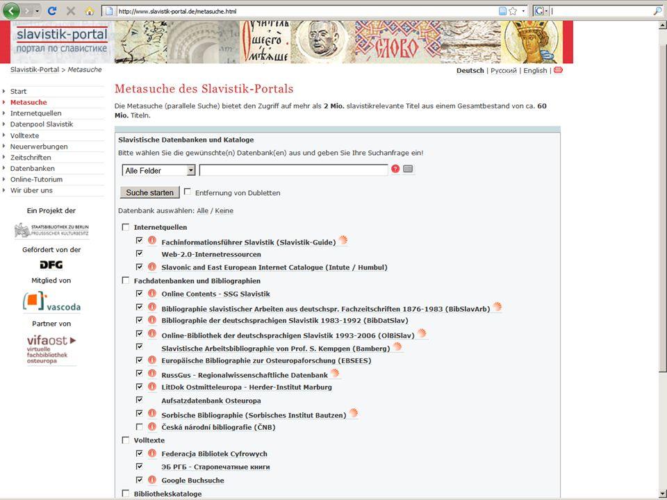 Metasuchmaschine zur Metasuche Slavistik-Portal | Osteuropa-Abteilung