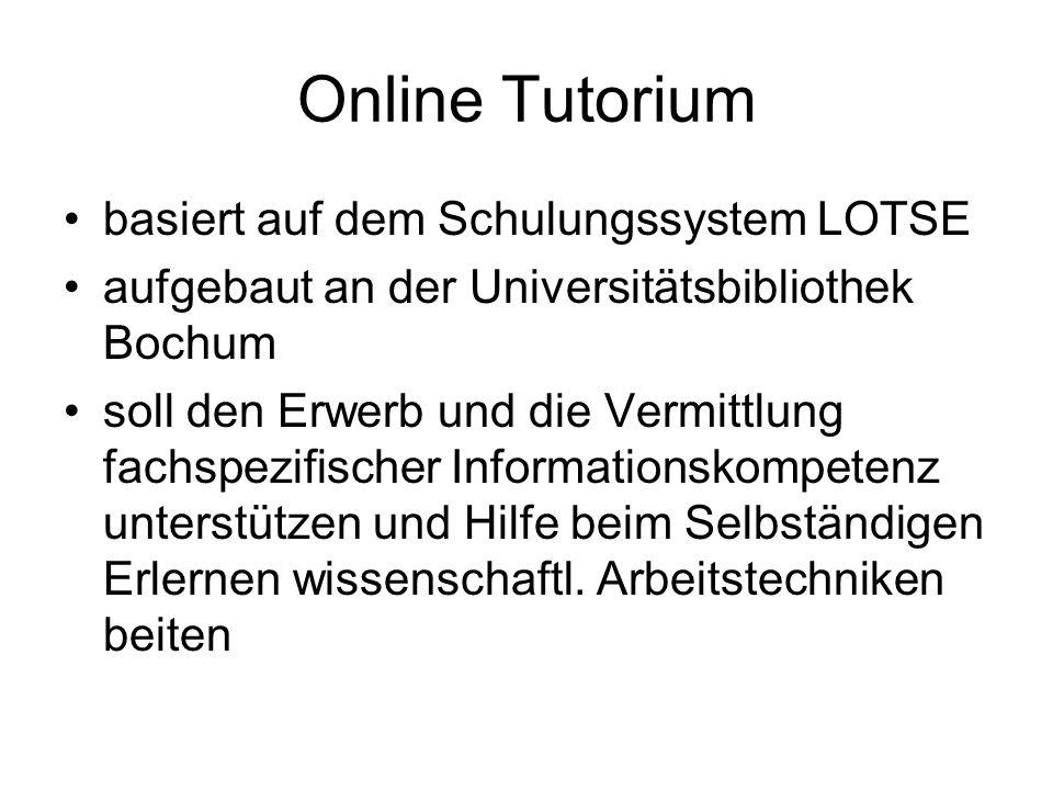 Online Tutorium basiert auf dem Schulungssystem LOTSE
