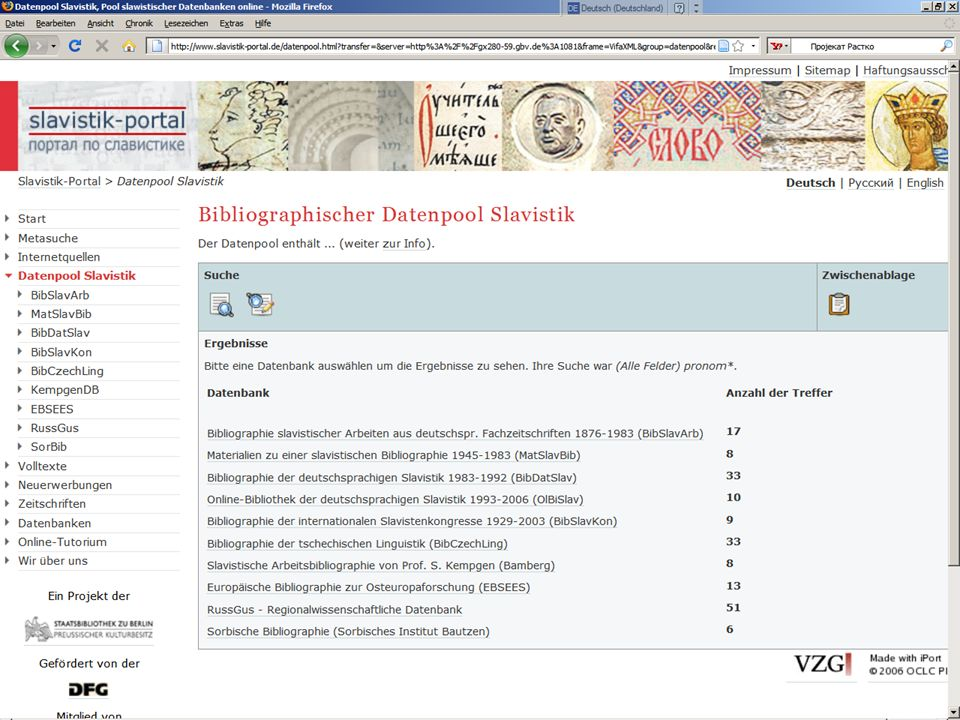 Datenpool Slavistik zum Datenpool