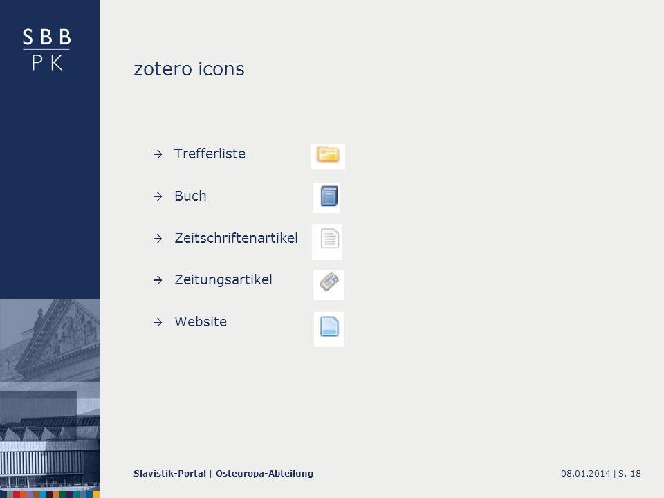 zotero icons Trefferliste Buch Zeitschriftenartikel Zeitungsartikel
