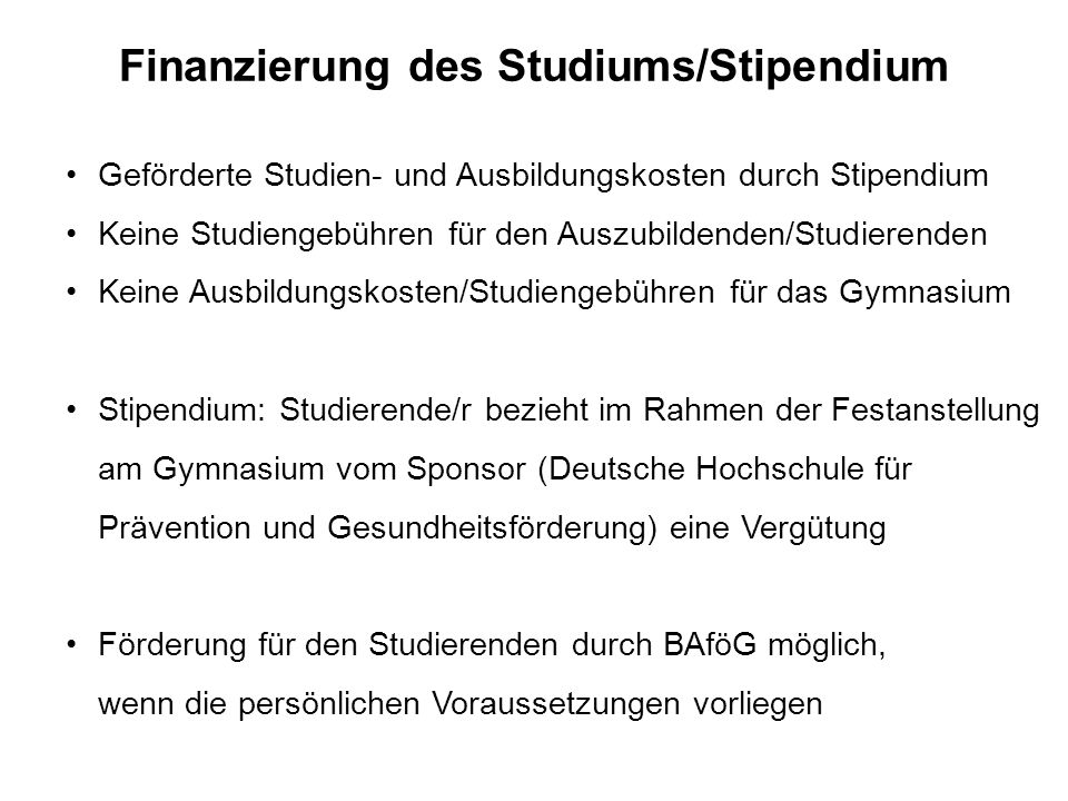Finanzierung des Studiums/Stipendium